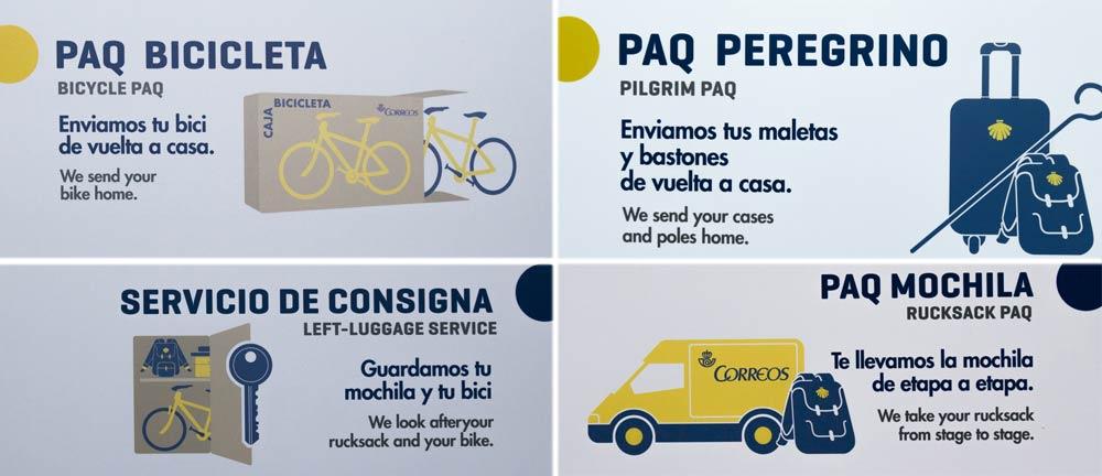 Verschiedene Logos der spanischen Post, Correos, für den Jakobsweg