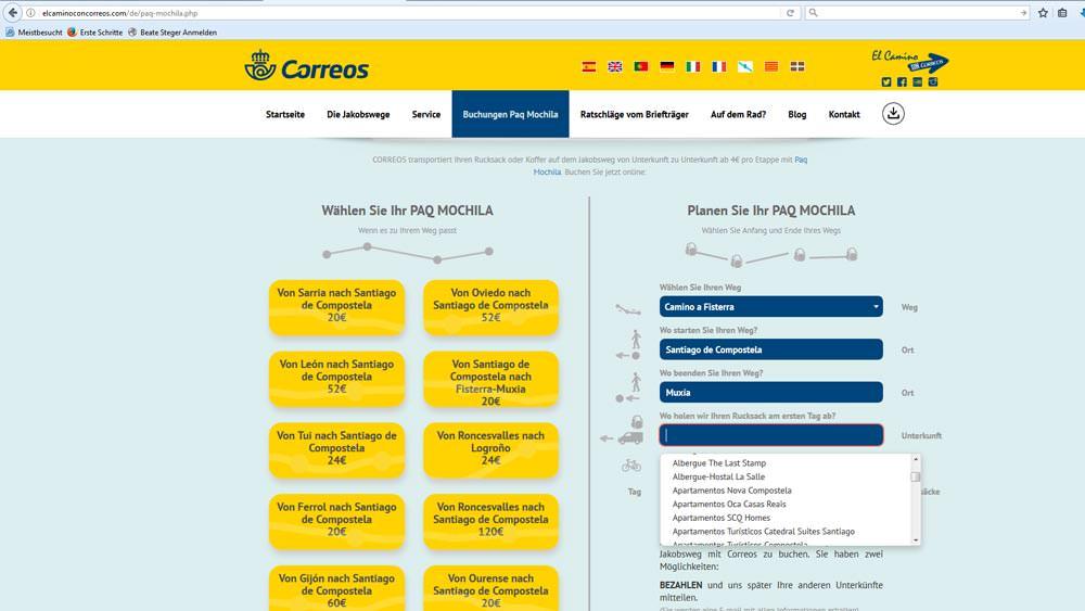 Screenshot von der Internetseite von Correos, der spanischen Post, zum Gepäcktransport auf dem Jakobsweg