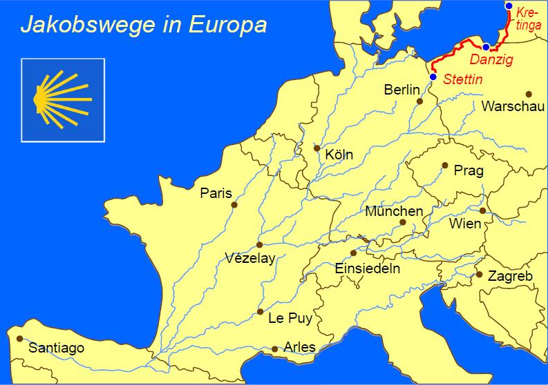 Europakarte mit Jakobswege und vielen Städten, in rot ist der pommersche Jakobsweg eingezeichnet