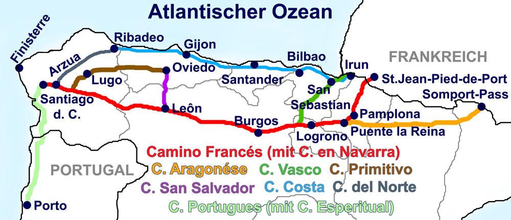 Karte mit sieben Jakobswegen in verschiedenen Farben, die durch Nordspanien führen