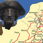 Pilgerkopf und Ausschnitt der Karte von Jakobswege Europa