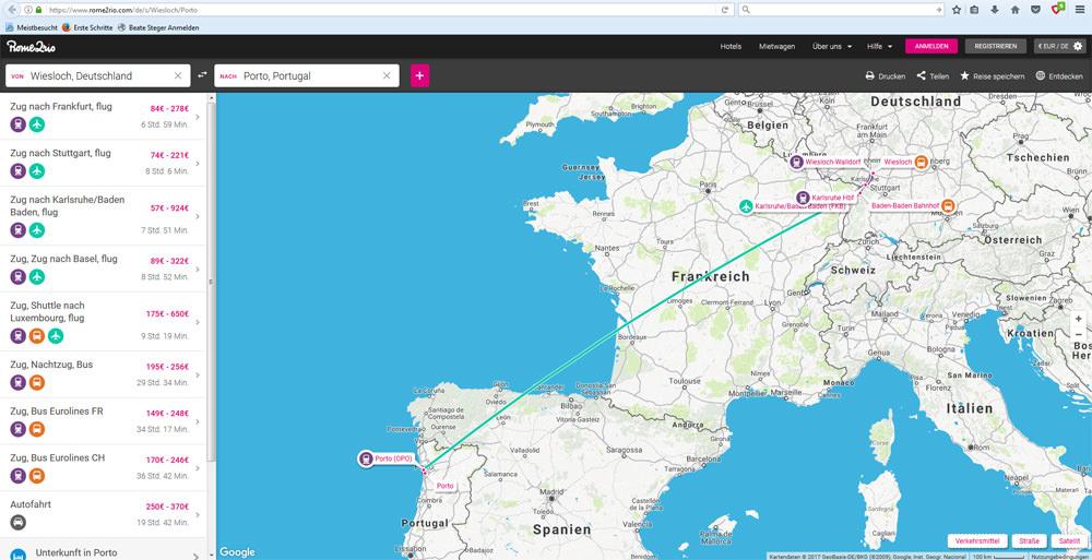 Screenshot von der Internetseite rome2rio.com für die Strecke Wiesloch-Porto