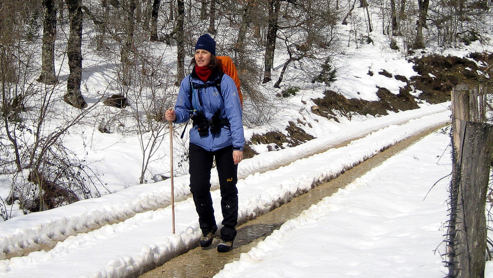Beate Steger in voller Wintermontur mit Stock auf schneereichem Jakobsweg in den Pyrenaen