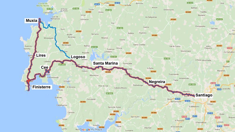 Karte von Google Maps zeigt Nordspanien, die Strecke von Santiago nach Finisterre und Muxia