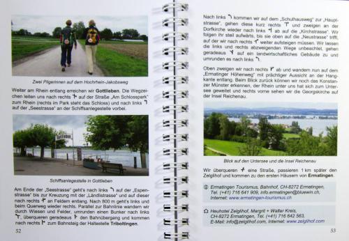 aufgeschlagene Seiten des Pilgerführers mit Beschreibung, Karte und Bildern