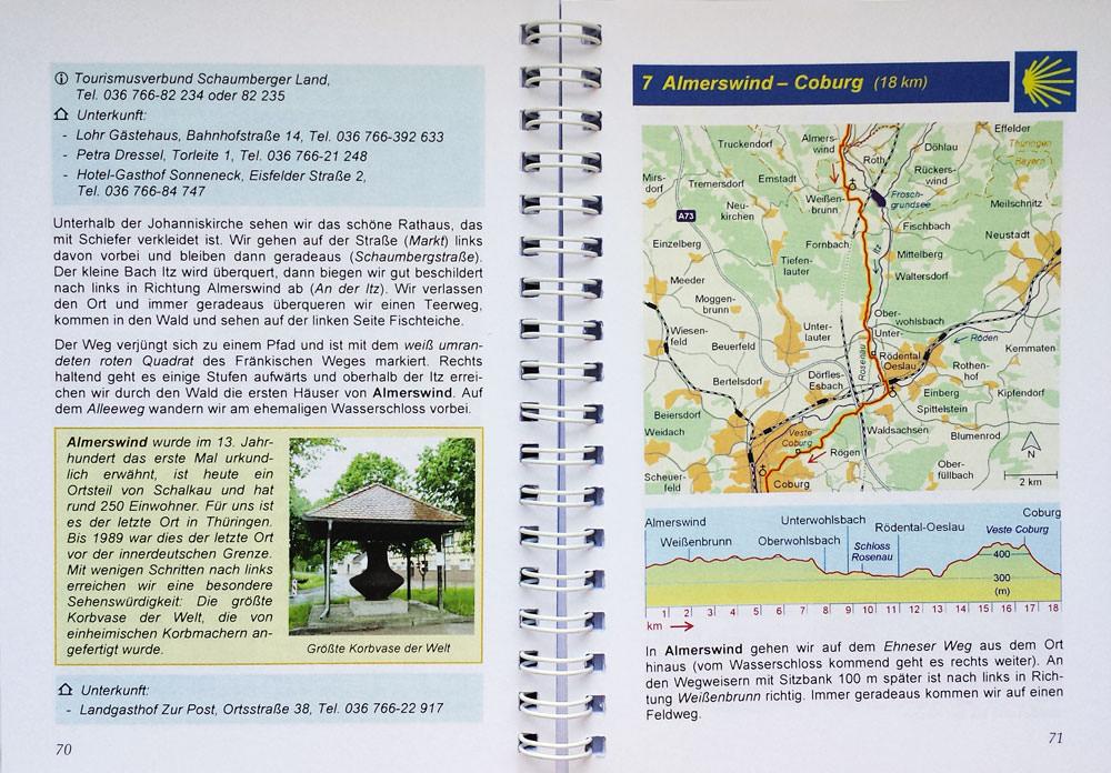 Beispielseite des Pilgerführers Erfurt-Rothenburg mit Beschreibung, Bild und Karte