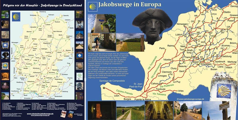 Karten mit Jakobswegen in Deutschland und Europa